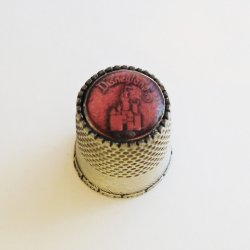 Disneyland Pewter Thimble, Pink Top, Sleeping Beauty Castle