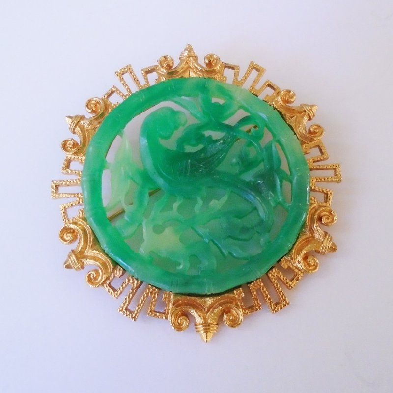 Vintage 1950s to 1960s large Vendome faux jade brooch with Asian Motif. Bird in tree branches. 3 inch. Estate sale purchase.