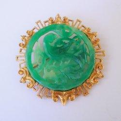 Large Vendome Brooch, Faux Jade, Asian Motif, 1950s-1960s