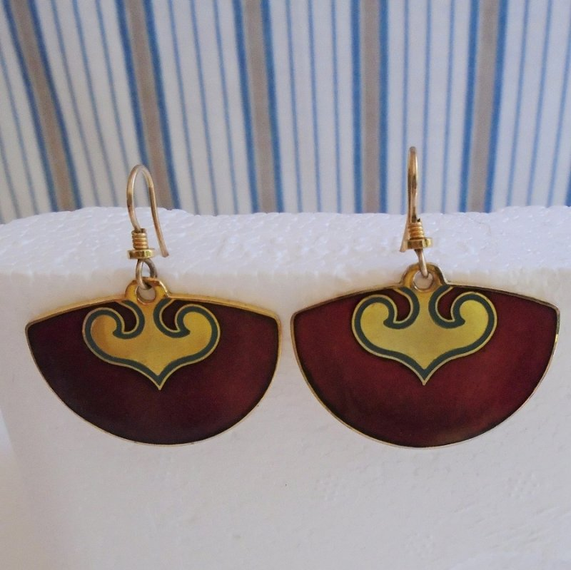 Vintage Laurel Burch pierced earrings, maroon and gold in color. Unknown age. Estate sale purchase.