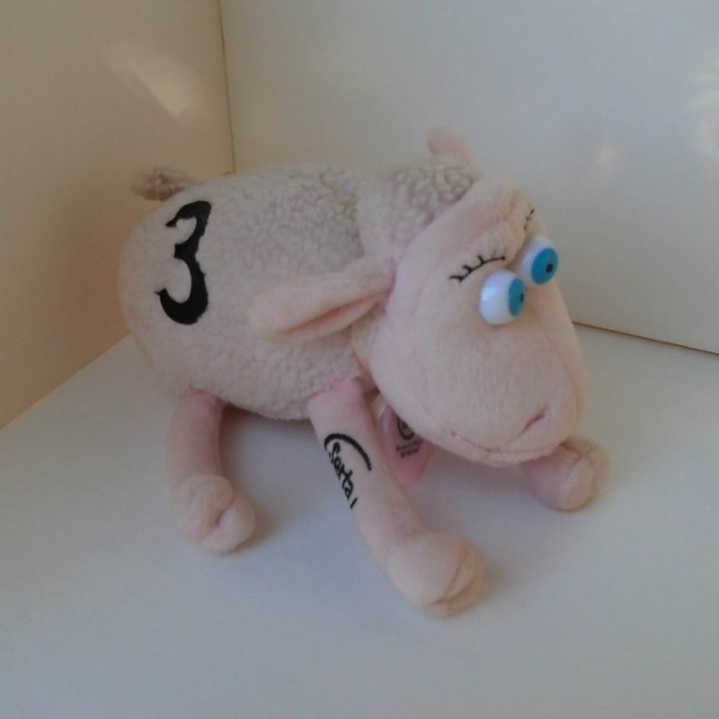 Breast Cancer Research Pink Sheep number 3. Made by Curto for Serta Mattress. Was Serta advertisement icon. Tag dated 2000. Great condition.