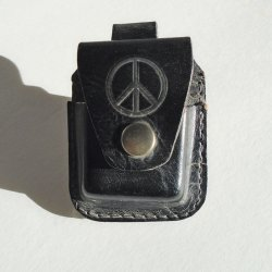 Belt Pouch with Peace Sign, Black Leather, 2.5 x 3 inch