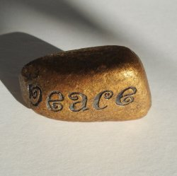 Painted Peace Rock Stone, Gold with Black