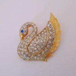 Park Lane Vintage Rhinestone Swan Brooch Pin