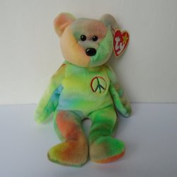Peace Sign TY Beanie Baby, Pastel, 1996, Ear & Tush tags