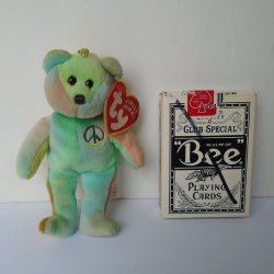 TY Jingle Beanie Baby Pastel Peace Bear Mini Ornament