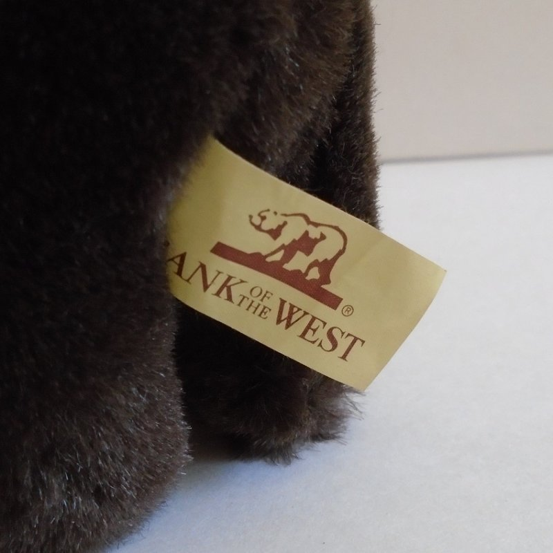 Bank of the West logo Santa Claus Grizzly Bear. Approximately 7 inches. Estimated age from 1980s -2000. Estate purchase.