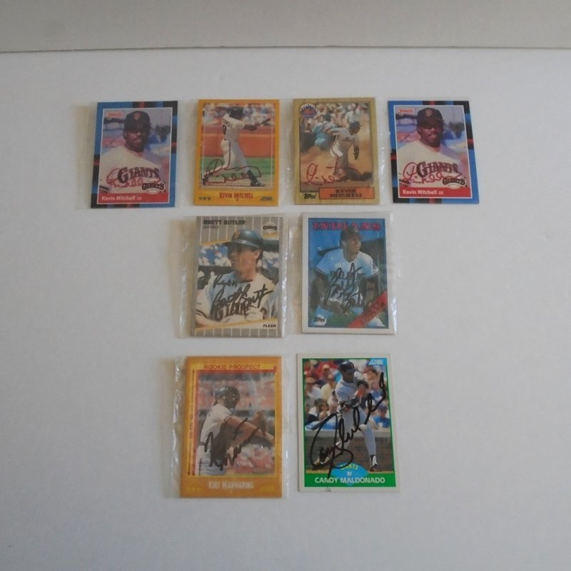 Autographed baseball cards, total of 8. Kevin Mitchell, Brett Butler, Kirt Manwaring, Candy Maldonado. Most from San Francisco Giants 1980s.