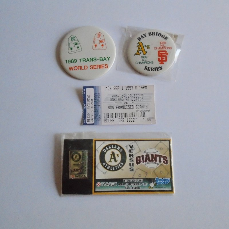 San Francisco Giants vs Oakland A's Athletics 1989 World Series Earthquake series pins and 1997 ticket stub and pin. Estate purchase.