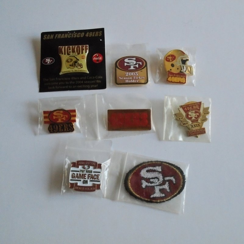 San Francisco 49ers hat or lapel pins. 7 pins and one patch dating between 1984 and 2008. Estate purchase.