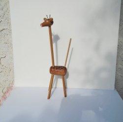 Whimsical Giraffe Statue, Wood Dowels, 14 inch, circa 1960s