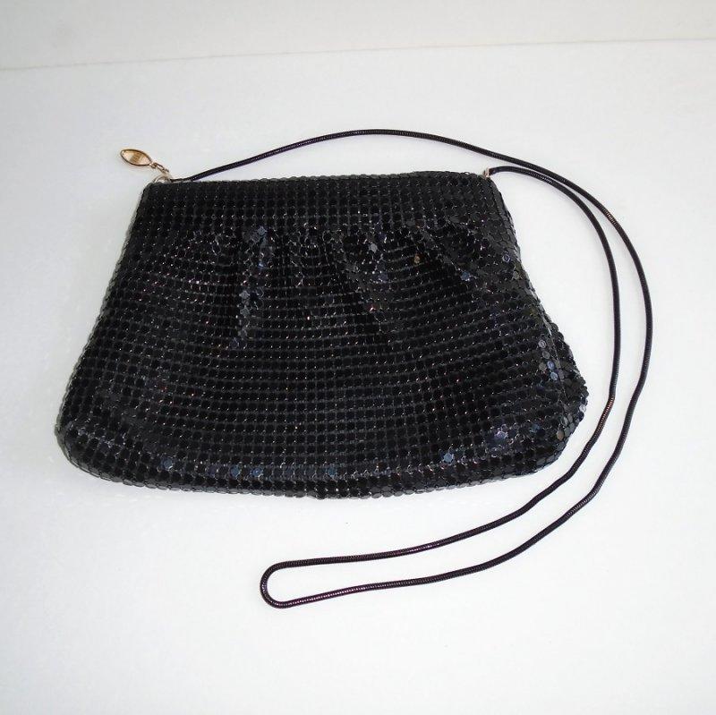 Black Sequin Evening Shoulder Bag, Zipper Pull Marked FDC