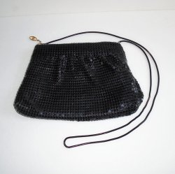 Black Sequin Evening Shoulder Bag, Zipper Pull Marked FDC