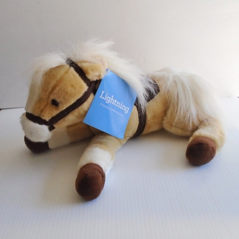 Wells Fargo Bank Legendary Plush Horse Lightnng. Fashioned from the actual Pony Express horse of c1860. Paper and tush tag included.