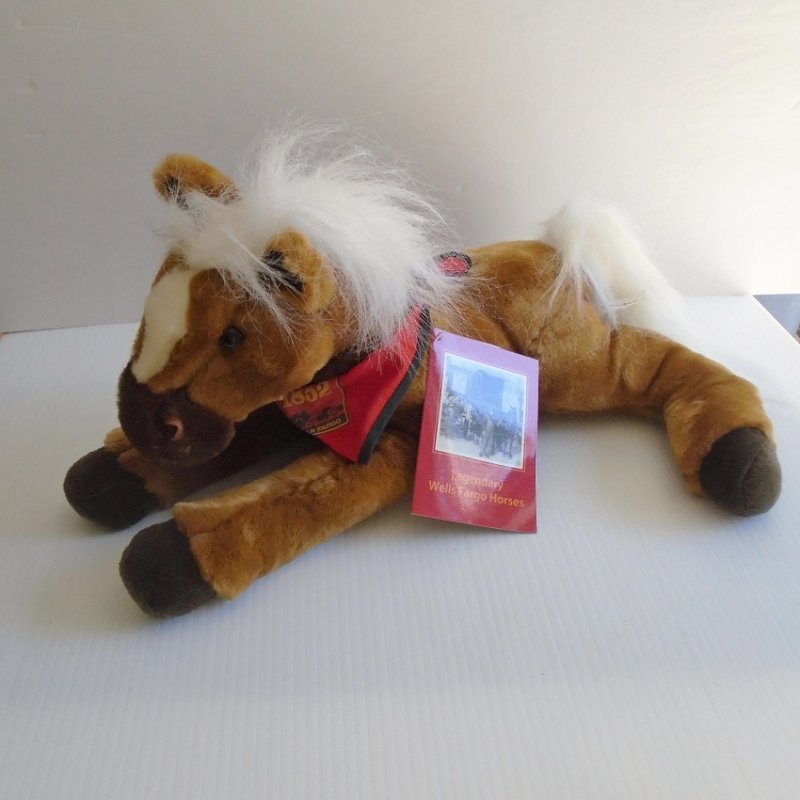 Wells Fargo Bank Legendary Plush Horse Dandy. Fashioned from actual Wells Fargo work horse from 1895 Auburn California. Paper and tush tag included.