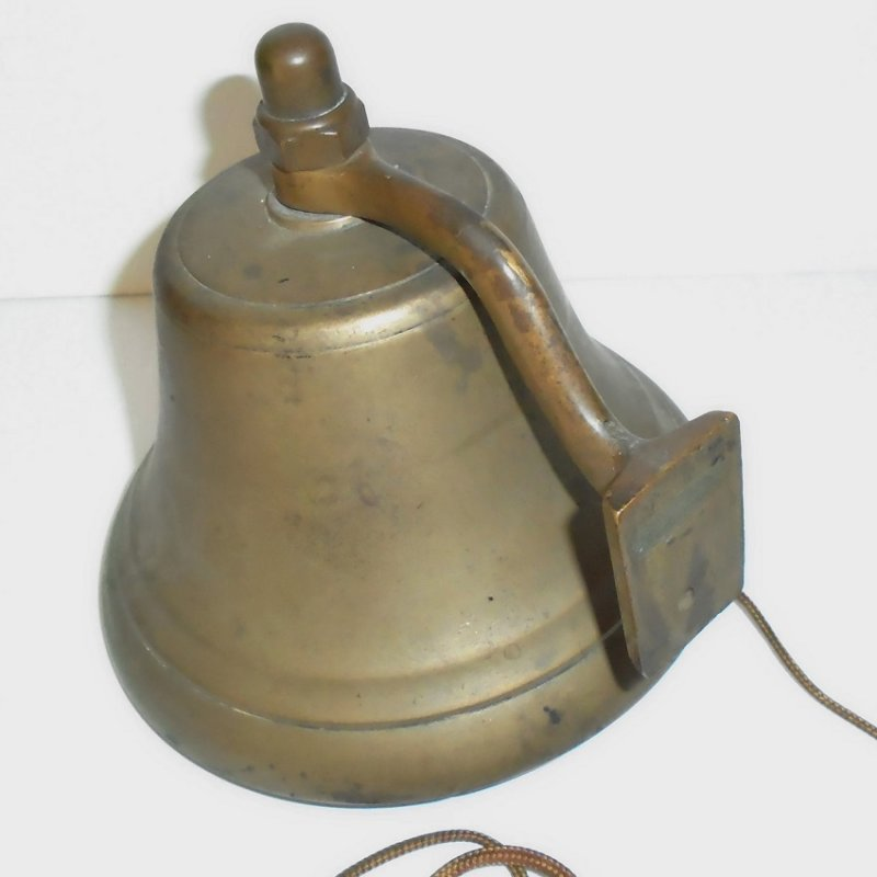 Vintage bell. Unknown if for a school, a boat, a farm.  Estate purchase. 5 inches tall, 6 inches wide. Unknown date but looks old. Estate purchase.