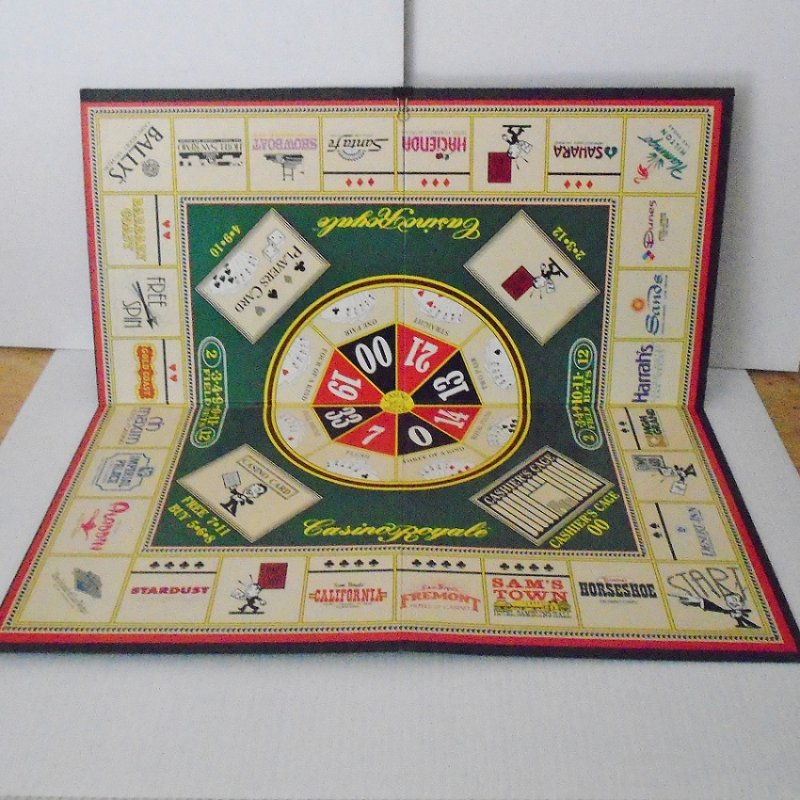 Board ONLY for the Casino Royale board game. Great for framing. Features many closed casinos in the same fashion as a Monopoly game.