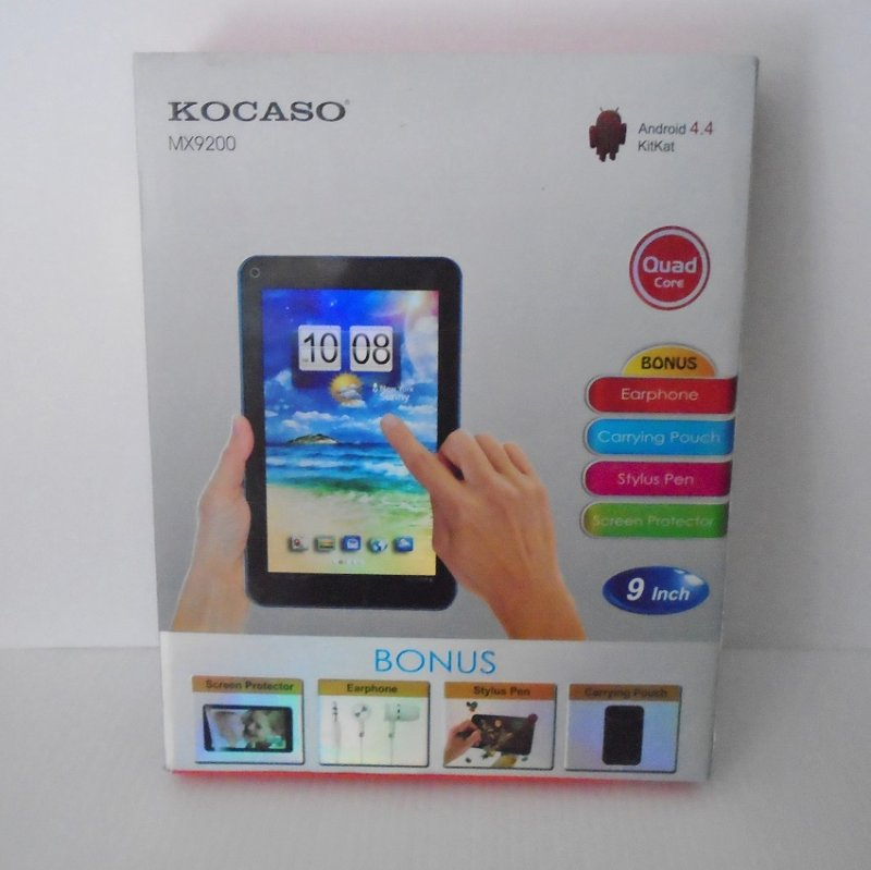 Nine inch Quad Core Android Tablet. 8GB, Kocaso  MX9200. Comes with optional keyboard and case. All original packaging and accessories included.