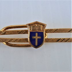Nurse Themed Tie Bar with Cross, Religious Vintage Goldtone