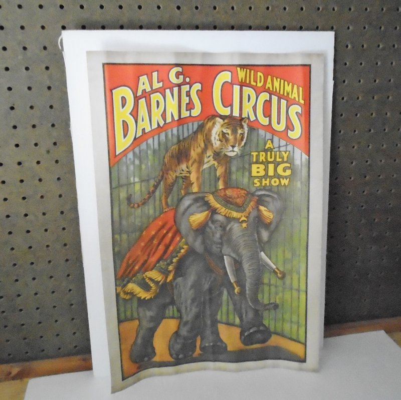 Four circus posters reproduced in and dated 1960 from original 1894 to 1925 artwork. Ringling Bros, Barnum Bailey, Forepaugh, Barnes Circuses.
