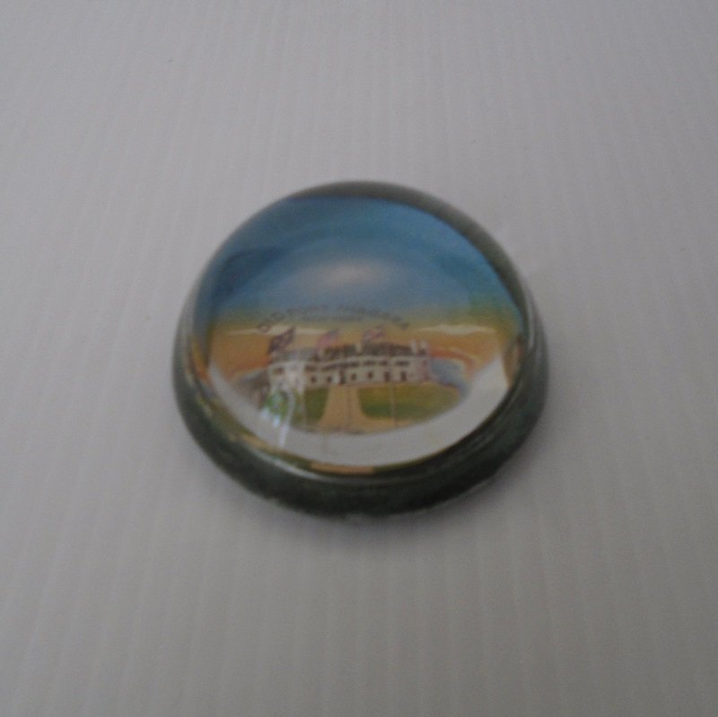 Vintage domed glass paperweight from Old Fort Niagara New York. Possibly early 1900s. Exact age unknown, estate purchase.