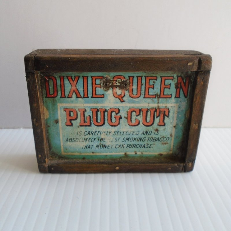 Vintage wall art. Dixie Queen Plug Cut framed tobacco tin top. Circa 1910. Framed in period correct wood.