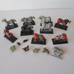 Warhammer Horses, Various Stages of Completion, Qty of 9