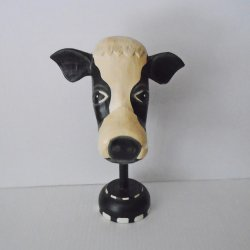 Cow Head Eyeglass Holder, Hand Carved and Painted Wood, 9