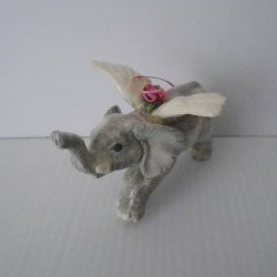 Flying Elephant Angel Ornament, Ceramic, 5 by 3.5 inches