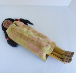 Vintage Native American Indian Skookum Doll, Early 1900s