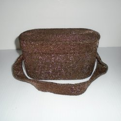 Glass Beaded Box Purse, Golden Brown Beads, 1940s