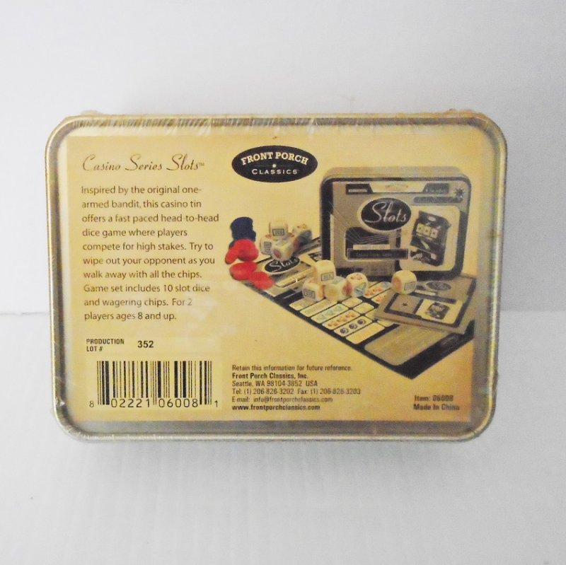 Casino slot machine game from 'Games To Go'. Comes in decorative tin. Sealed and unopened.