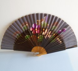Hand Painted Hand Fan, Portugal, Early 1970s, Floral Motif