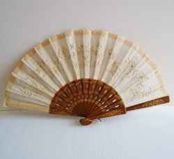 Hand Fan, Wood with Cloth, Portugal, Early 1970s, Floral