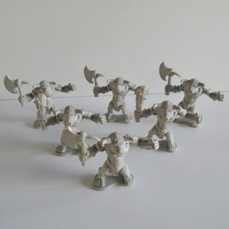 Quantity of 6 fighting figurines with bull heads. For either Warhammer, Dungeons and Dragons, or Mage Knight.
