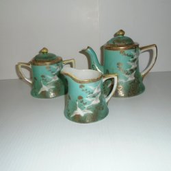 Nippon Moriage Tea Set 1930s - 1950s, Hand Painted Porcelain