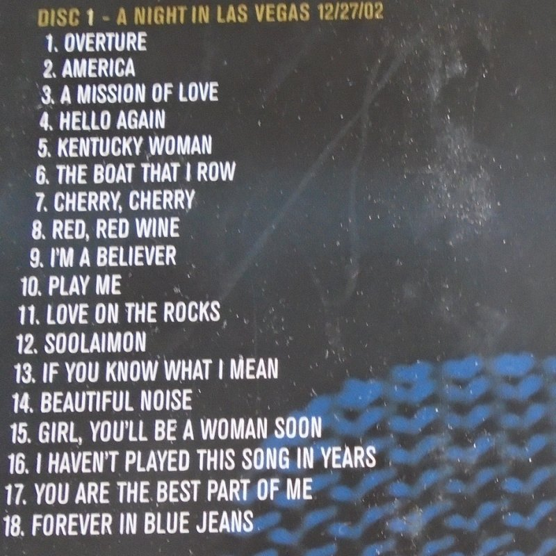 CD 1 songs on Neil Diamond Stages. 6 CD set covering years of 1970 - 2002. Total of 95 of his greatest recordings.