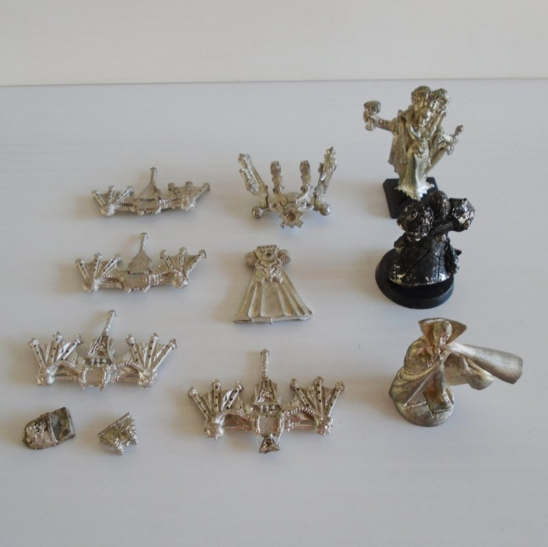 Games Workshop Warhammer 11 misc metal game pieces. May also be for the Dungeons and Dragons or Mage Knight game.