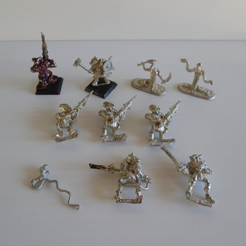 Games Workshop Warhammer, Marauder, Ral Partha, Champion of Khorne. 10 misc animal warrior pcs. All are metal and most are unpainted.