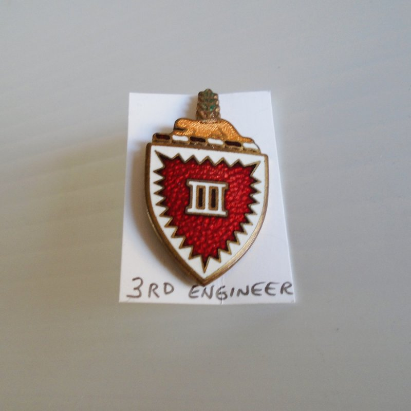 3rd US Army Engineer Battalion enamel DUI Insignia Pin. German made. Probable WWII era. Estate purchase.