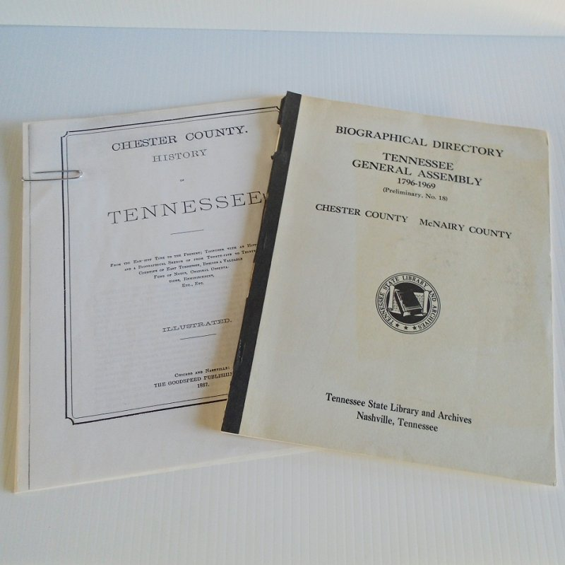 McNairy County and Chester County Tennessee General Assembly members history and biographies reprint booklets. 1796 - 1969.