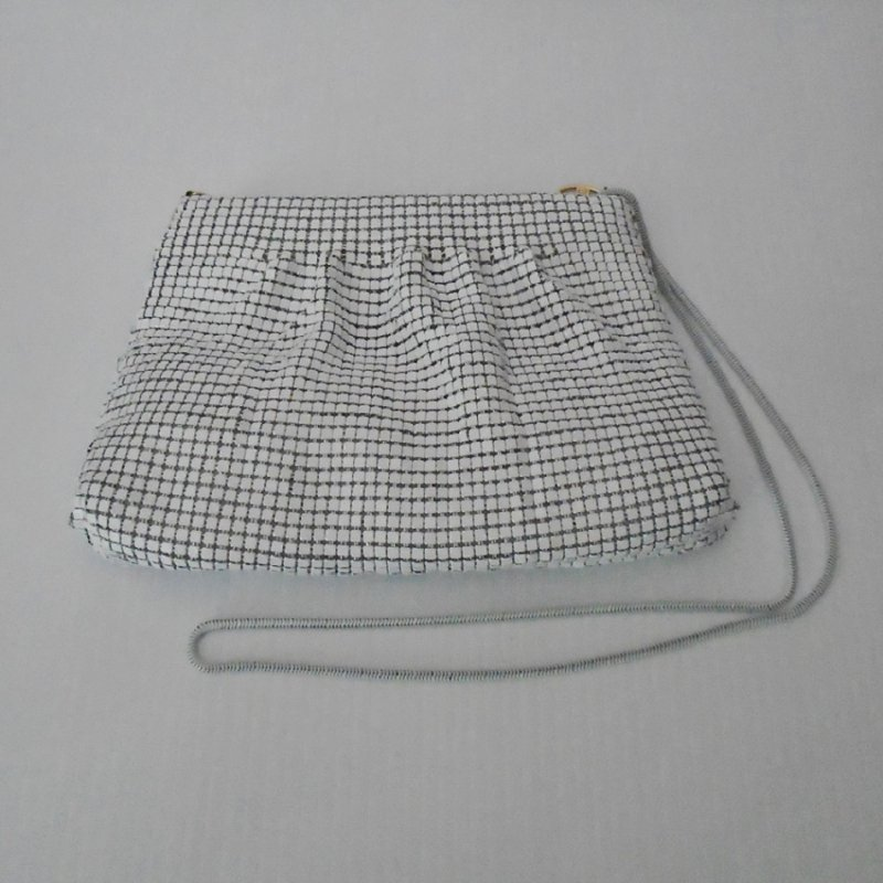 White Sequin Evening Shoulder Bag, Zipper Pull Marked FDC