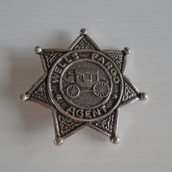 Wells Fargo 7 Point Star Agent Badge, Silver Tone