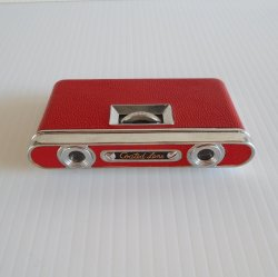 Folding Opera Glasses, Red Leather Case, Vintage 1960s