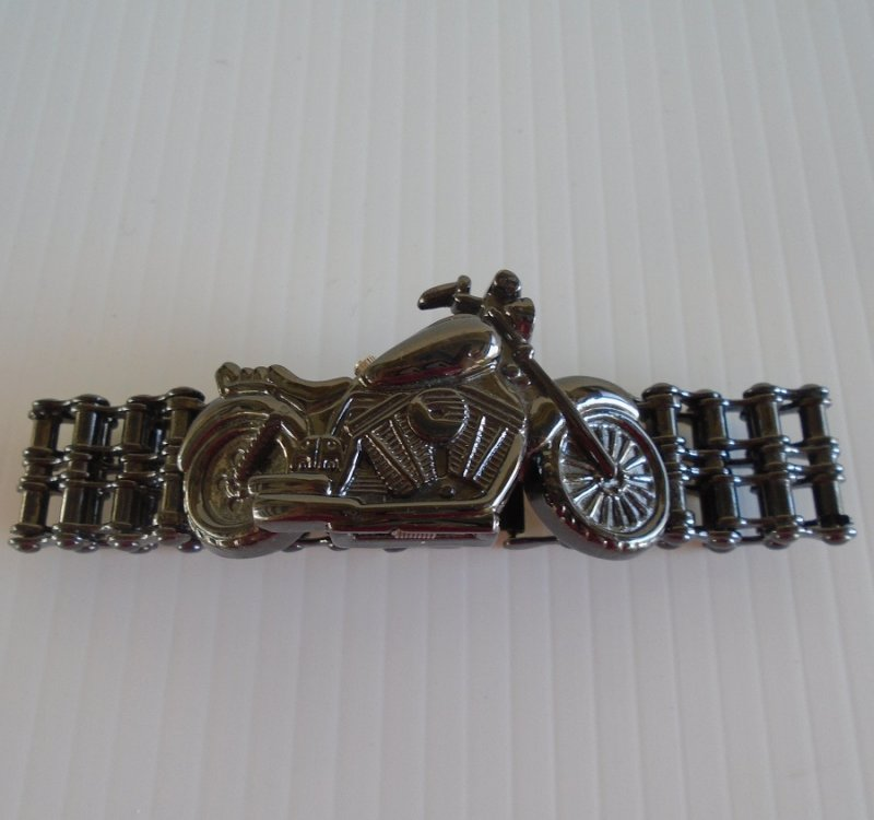 Motorcycle shaped Biker Watch with Gear Chain Band. New, works perfectly. Made by Trendz