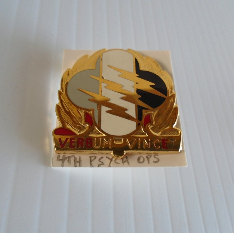 U.S. Army 4th Psychological Operations Group DUI insignia pin. Estate purchase. Some letters missing ink at bottom.