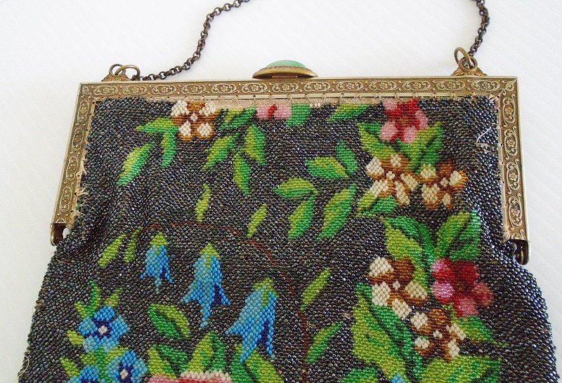 Circa 1910s Antique Floral Steel Beaded Purse. Roses, flowers, beads. Fringed. Most likely made in France.