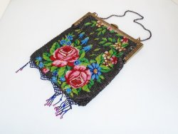 Antique Floral Steel Beaded Purse, Red Roses, circa 1910s