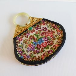 Petit Point Floral Embroidery Purse Bangle Handle Jade Clasp