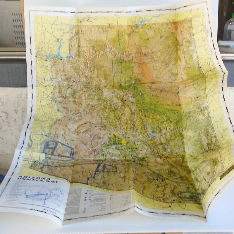 Arizona Aeronautical Chart Map with Airports, Mines, Flight Paths, Railroads, other landmarks. Dated 1968, like new.